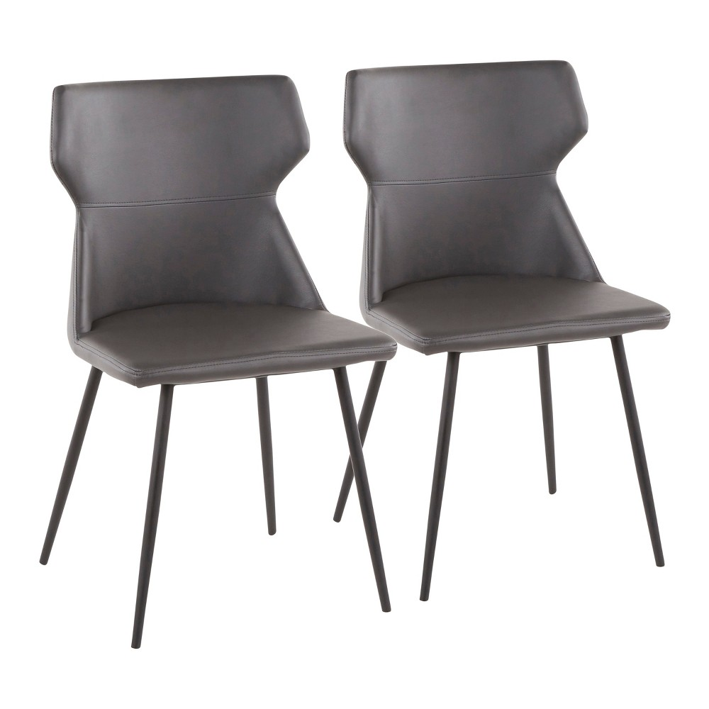 Set of 2 Hex Contemporary Chairs Gray/Black - LumiSource