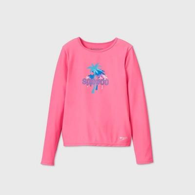 Speedo Girls' Palm Tree Long Sleeve Rash Guard Swim Shirt - Pink