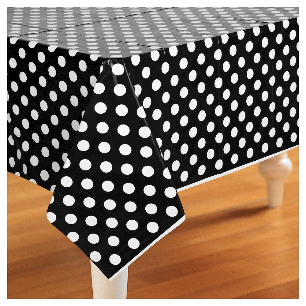 Black White Polka Dot Rectangle Tablecover