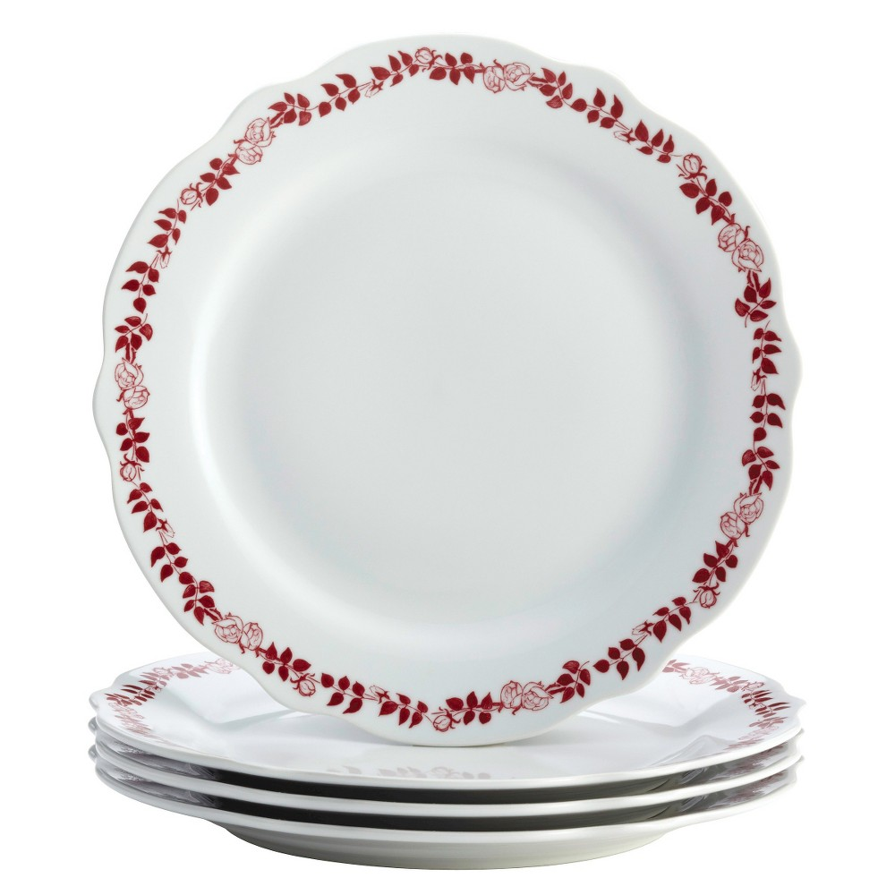 Dinner Plate Yuletide Garland 15.75x13 Set of 4 - Bonjour, Red