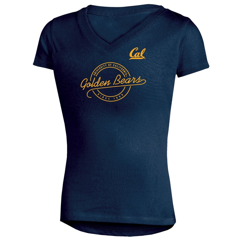 Cal Golden Bears Girls Short Sleeve Puff Print V-Neck Tunic T-Shirt S, Multicolored