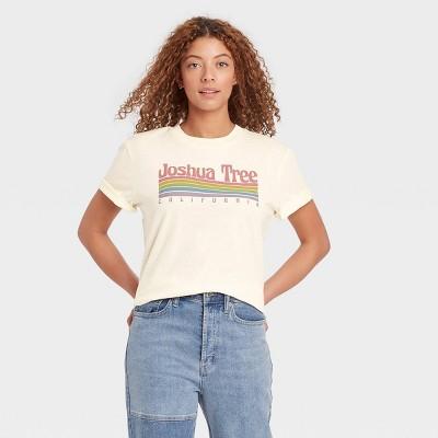 Women's Joshua Tree Rainbow Short Sleeve Graphic T-Shirt - Ivory