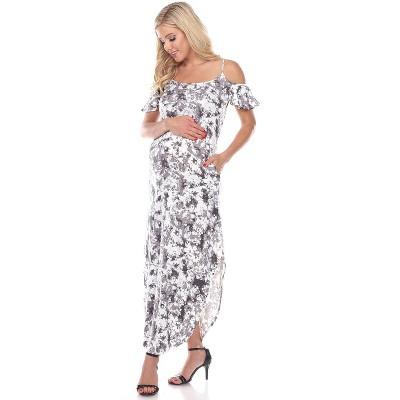 Maternity Cold Shoulder Tie-Dye Maxi Dress - White Mark