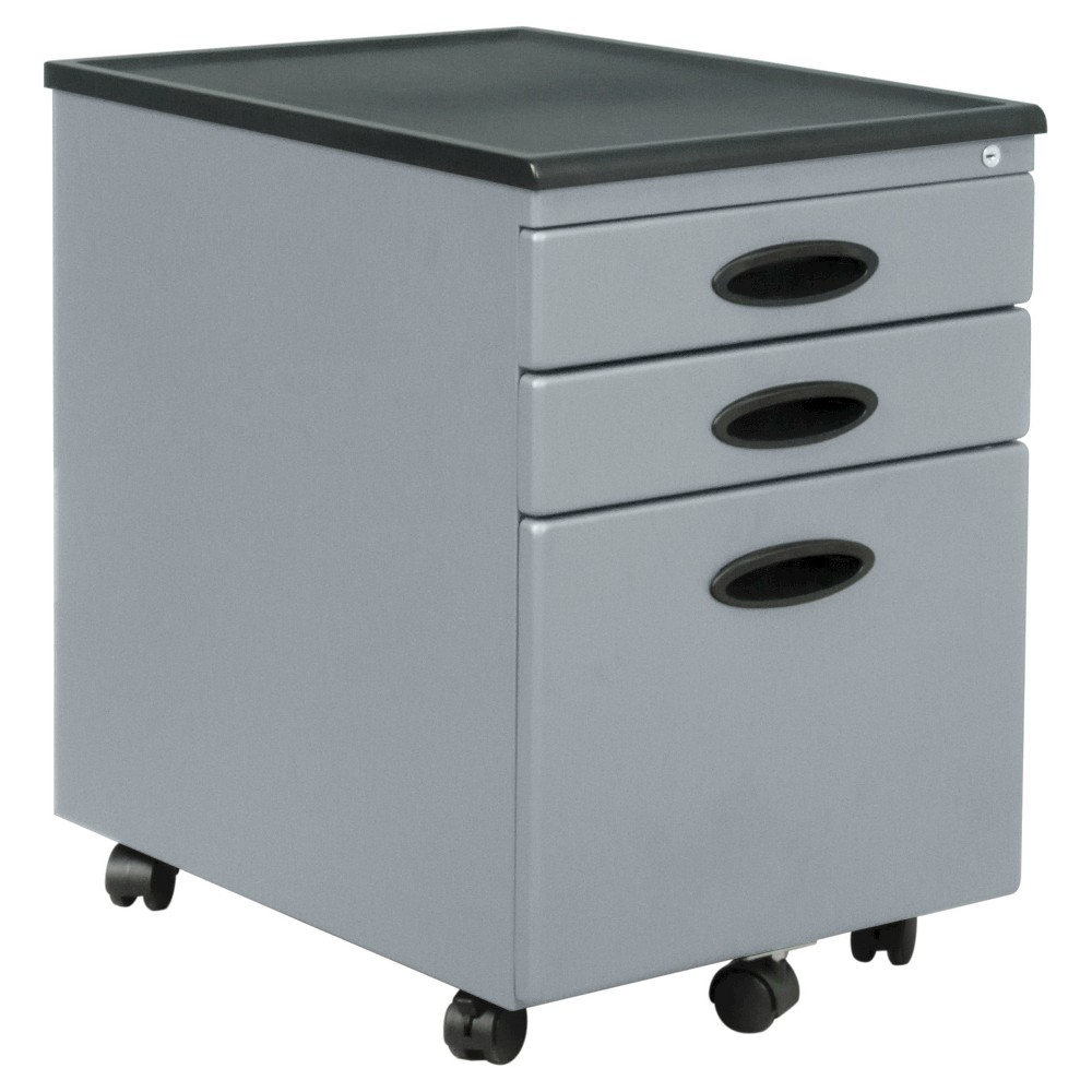 Mobile File Cabinet w/Locking Drawers - Silver, Light Silver