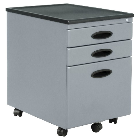 Mobile File Cabinet w/Locking Drawers - Silver - image 1 of 2