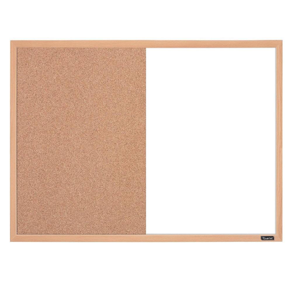 "Image of ""Quartet 17"""" x 23"""" Combination Board Dry-Erase & Cork Surface Finish Frame - Oak, Brown"""