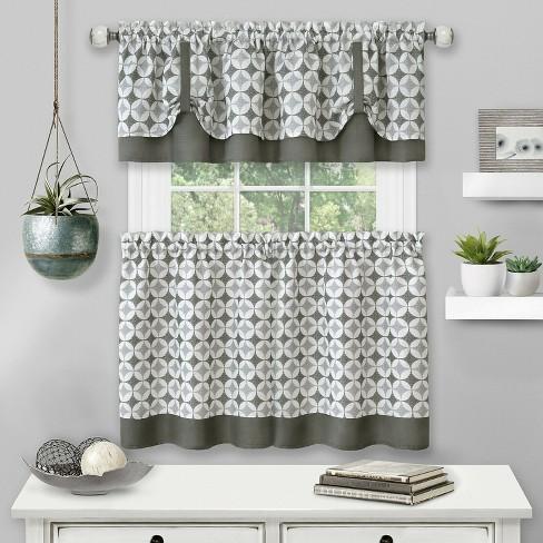 Kate Aurora Modern Geo 3 Pc Kitchen Curtain Tier & Valance Set - image 1 of 2