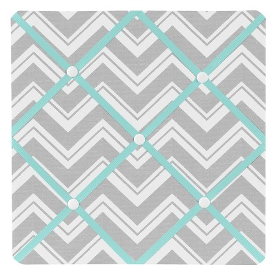 "Sweet Jojo Designs Photo Memo Board (13""x13"") - Zig Zag Turquoise & Gray Chevron"