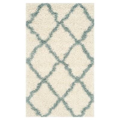Ivory/Light Blue Geometric Shag/Flokati Loomed Accent Rug - (3'X5')- Safavieh®