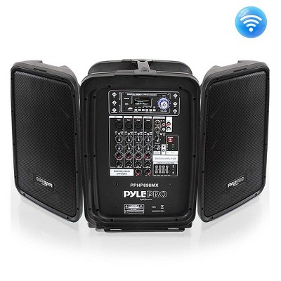 Pyle Stage and Studio Dual 8 Inch Bluetooth PA Loud Speaker System and 8 Channel Audio Amplifier Mixer Kit