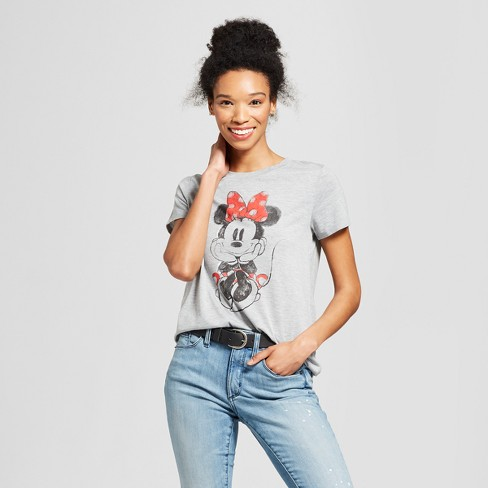 Women's Disney Minnie Mouse Short Sleeve Watercolor Graphic T-Shirt (Juniors') Gray - image 1 of 2