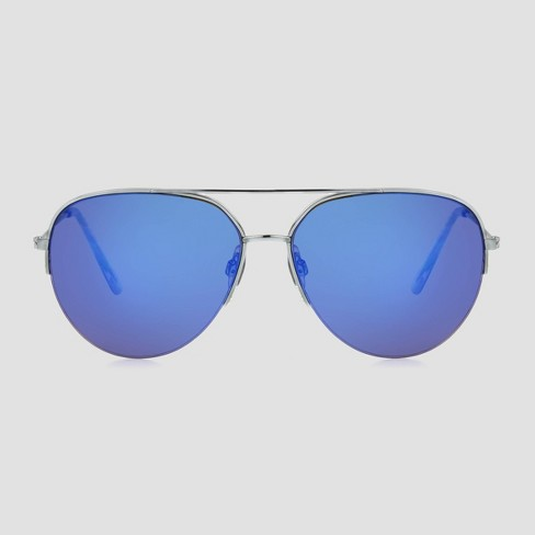 Women's Semi Rimless Aviator Metal Sunglasses - A New Day™ Silver - image 1 of 2