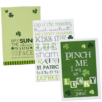 3pk Cotton Assorted St Patrick's Day Printed Dishtowels Green - Design Imports