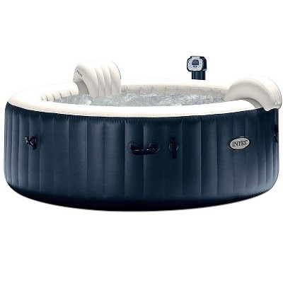 Intex 28409E PureSpa 6 Person Home Inflatable Portable Heated Round Hot Tub Spa 85 x 28 Inch with Soft Foam Headrest, and Cup Holder/Drink Tray