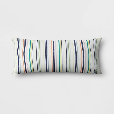 Printed Stripe Lumbar Outdoor Decorative Pillow Blue/Green/Orange - Threshold™