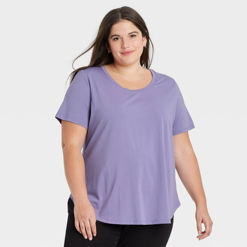 Women's Plus Size Essential Relaxed Scoop Neck T-Shirt - Ava & Viv™ - image 1 of 3