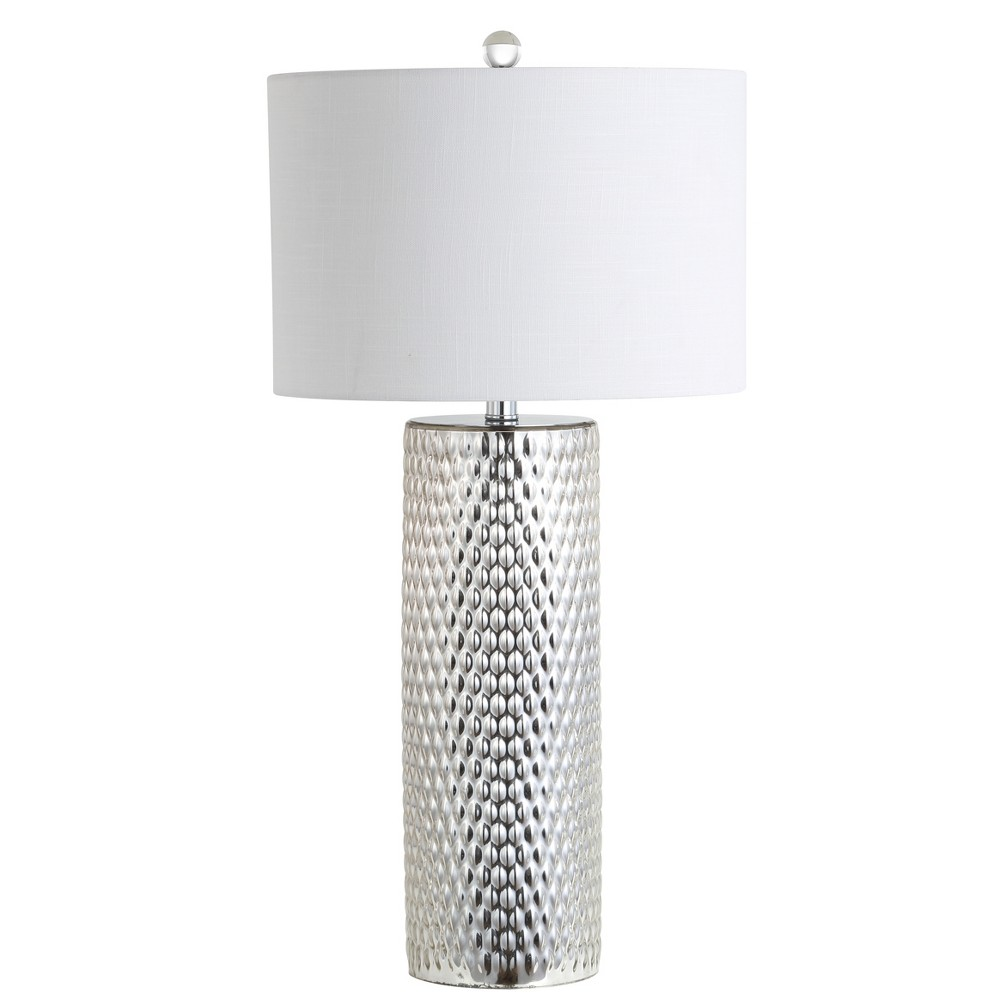 30 Isabella Glass Led Table Lamp Silver (Includes Energy Efficient Light Bulb) - Jonathan Y