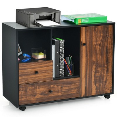 Costway Lateral Mobile Filing Cabinet Large Printer Stand w/2 Drawers Open Shelves Black