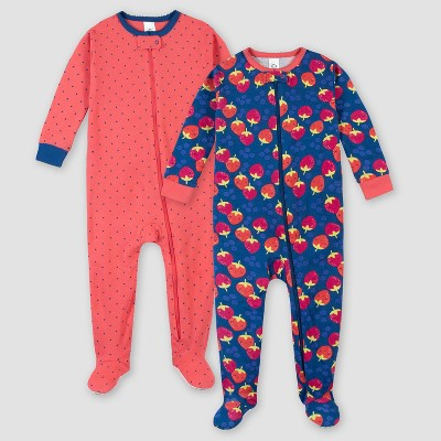 Gerber Girls' 2pk Footed Pajama - Pink/Blue
