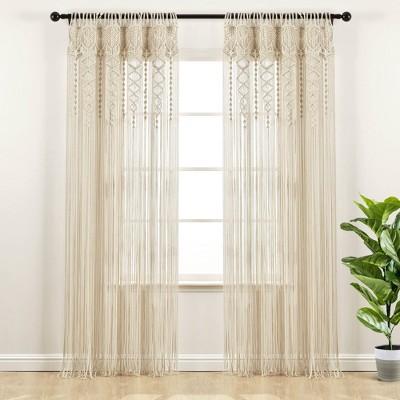 "84""x40"" Boho Macrame Sheer Window Curtain Panel - Lush Décor"