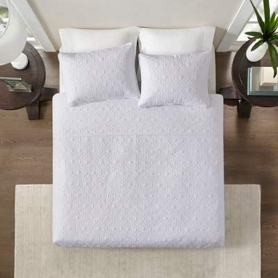 Vancouver Quilted Coverlet Set (Full/Queen)White - 3-Piece