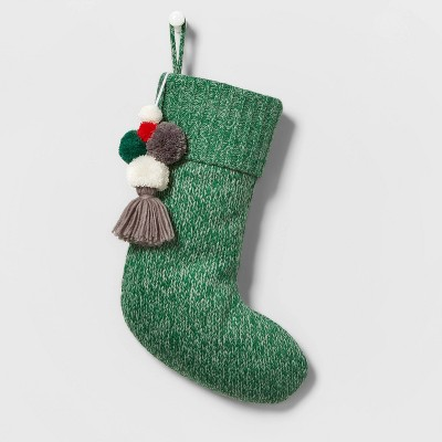 Marled Knit Christmas Stocking with Poms Green - Wondershop™