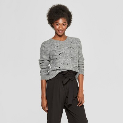 Women's Scalloped Hem Metallic Pullover Sweater   A New Day™ by A New Day