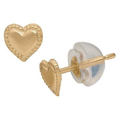 Tiara Kid's Heart Earrings in 14K Yellow Gold
