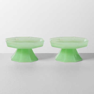 2pk Milk Glass Mini Cupcake Stand Beaded Edge Green - Hearth & Hand™ with Magnolia
