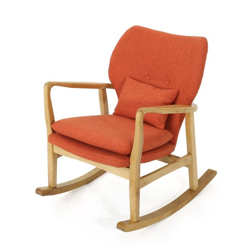 Strange Benny Mid Century Modern Rocking Chair Muted Orange Christopher Knight Home Alphanode Cool Chair Designs And Ideas Alphanodeonline