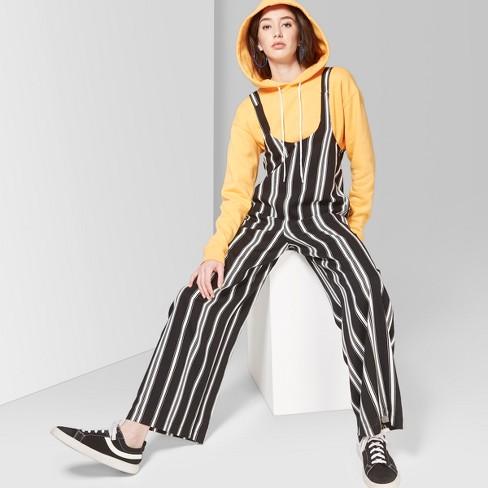 41089c3063f Women s Striped Strappy Scoop Neck Jumpsuit - Wild Fable™ Black White