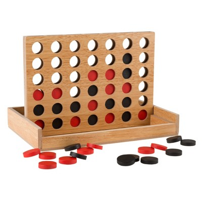 Toy Time Kids' Classic Wooden Four in a Row Game