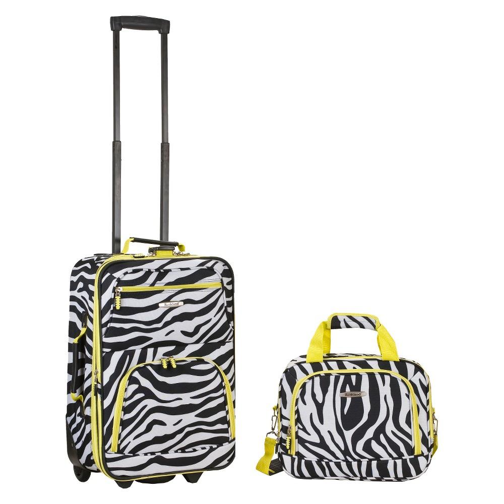 Rockland Rio 2pc Carry On Luggage Set Lime Zebra