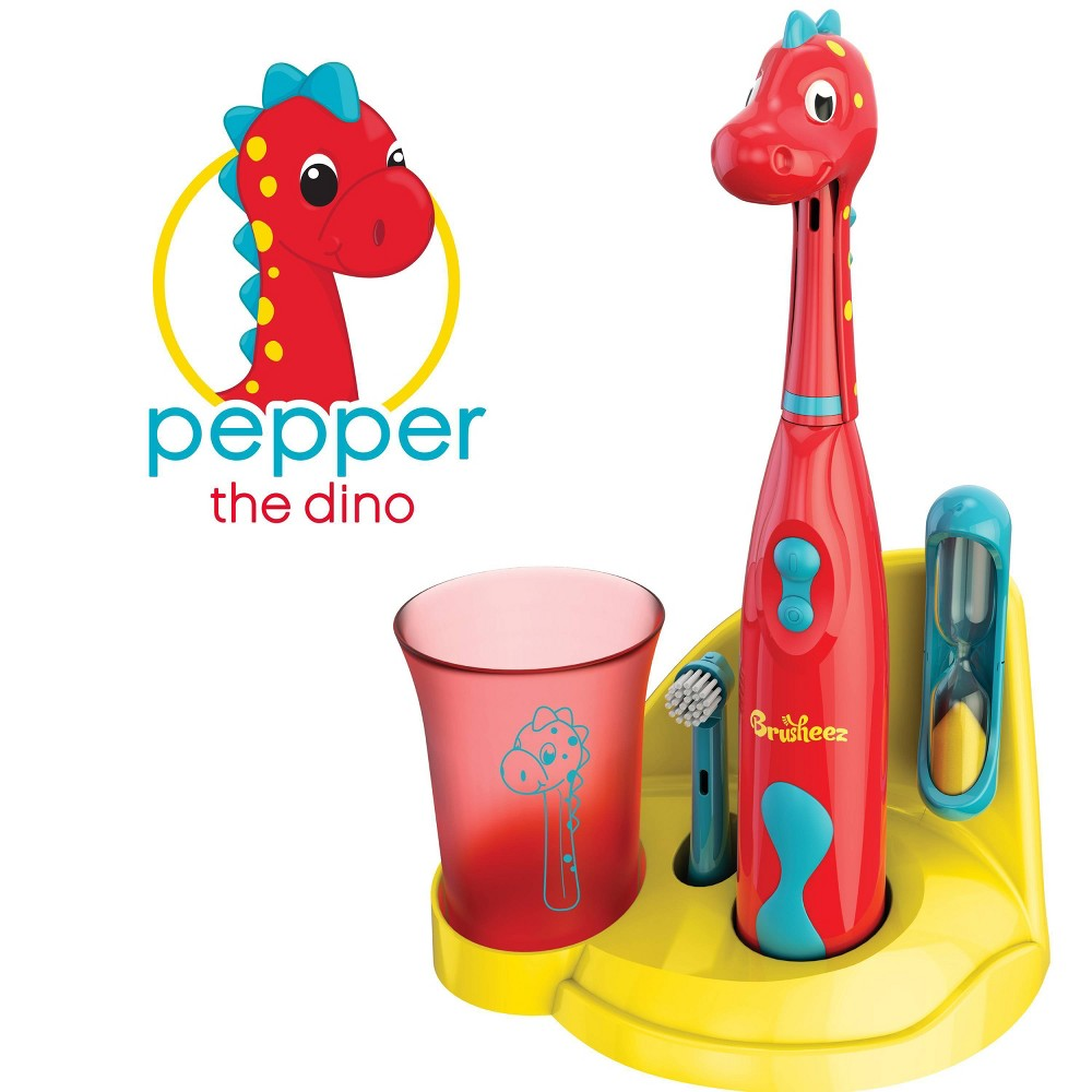 Image of Brusheez Pepper the Dinosaur Kid's Electric Toothbrush Set