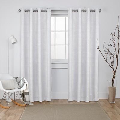 Oxford Textured Sateen Thermal Room Darkening Grommet Top Window Curtain Panel Pair Vanilla 52x84 - Exclusive Home