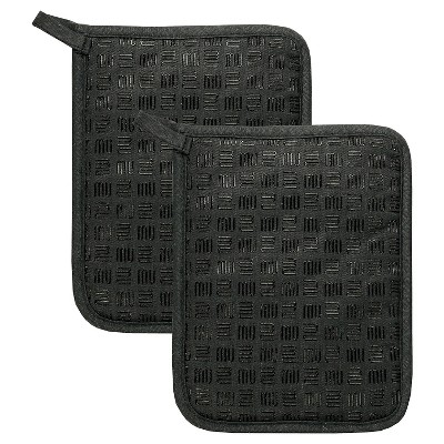 "2pk 7""X9"" Herringbone Potholder Black - Mu Kitchen"