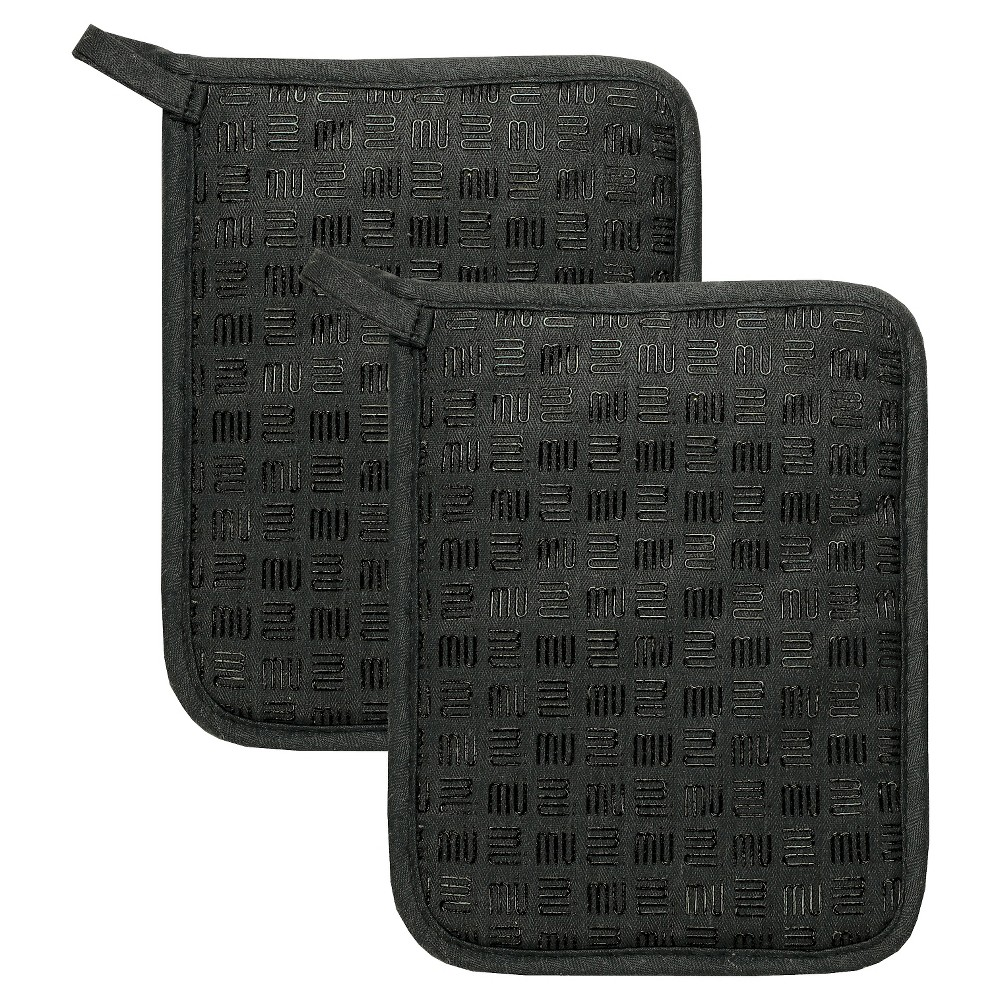 Silicone & Cotton Potholder (Set Of 2) - Mu Kitchen, Black