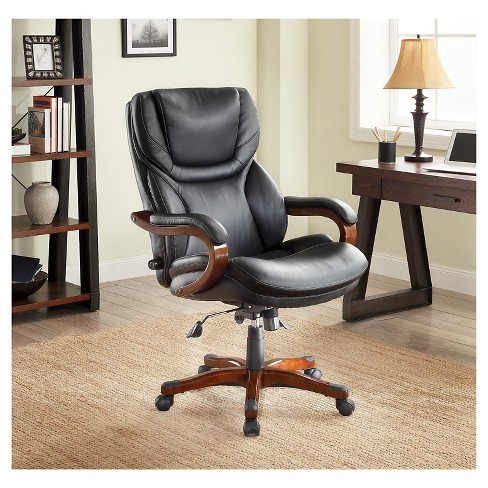 Executive Office Chair In Black Bonded Leather Target
