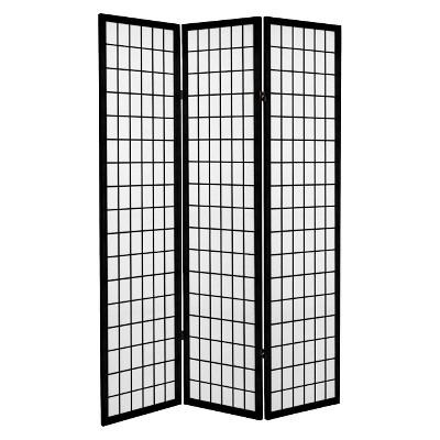6 ft. Tall Canvas Window Pane Room Divider - Black (3 Panels)