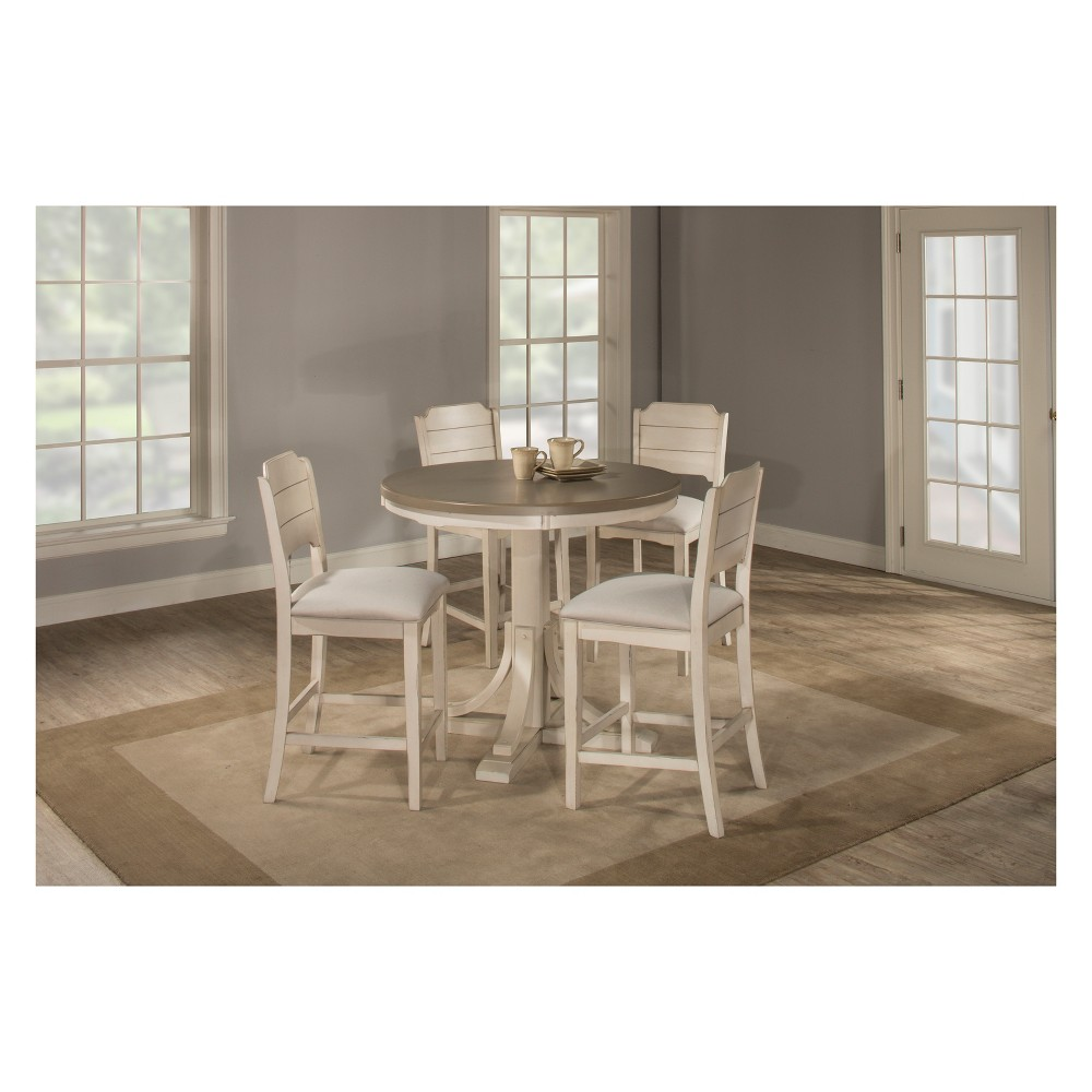 Clarion 5pc Round Counter Height Dining Set with Open Back Stools Gray Fog Fabric - Hillsdale Furniture