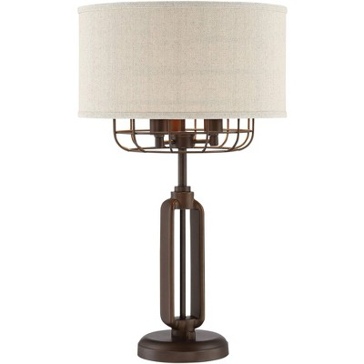 Franklin Iron Works Rustic Farmhouse Table Lamp Bronze Iron Cage Burlap Fabric Drum Shade 3-Light for Living Room Bedroom Bedside