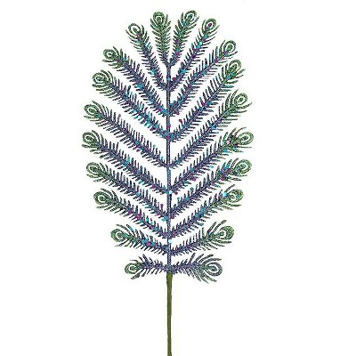"""North Star 30"""" Green and Blue Glitter Peacock Feather Artificial Christmas Spray"""