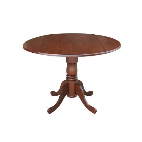 Round Drop Leaf Pedestal Dining Table Wood/Espresso - International Concepts