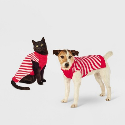 Candy Cane Stripe Dog and Cat Sweater - Red - Wondershop™