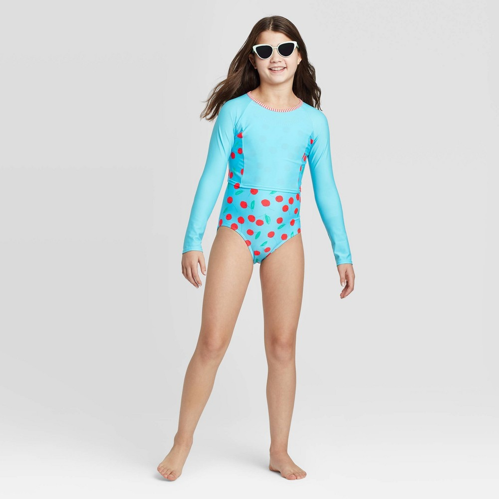 Image of Girls' Cherry Pie Cropped Long Sleeve One Piece Swimsuit Set - Cat & Jack Aqua L, Girl's, Size: Large, Blue/Red