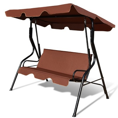 Costway 3 Seats Patio Canopy Swing Glider Hammock Cushioned Steel Frame Backyard Coffee