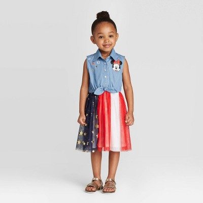 Toddler Girls' Disney Sleeveless Minnie Mouse Americana Tutu Dress - Blue 12M
