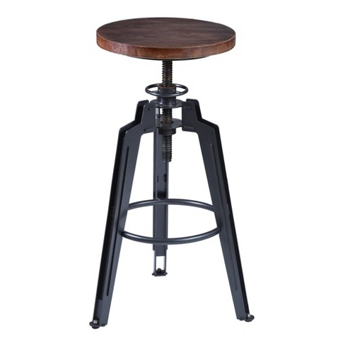 Tribeca Adjustable Barstool in Industrial Grey finish with Ash Wood Seat - Armen Living - image 1 of 4