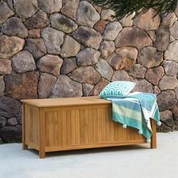 Sherwood Teak Storage Deck Box - Light Brown - Cambridge Casual