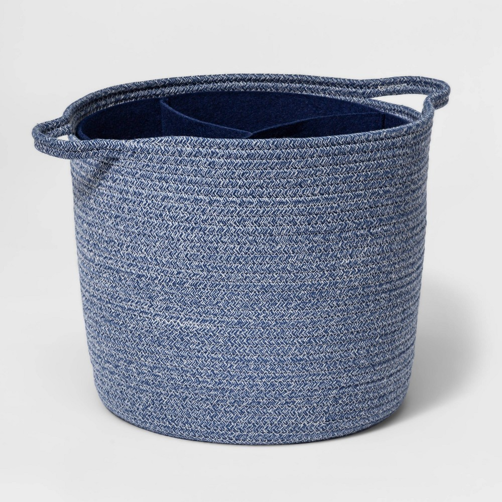 Coiled Rope Storage Bin With Felt Divider Cloud Island 8482 Navy